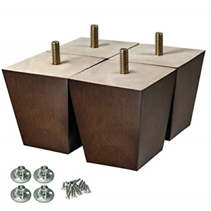 Details about 4pack Wood Furniture Sofa Legs Brown Mid-Century Modern  Replacement Coffee Table