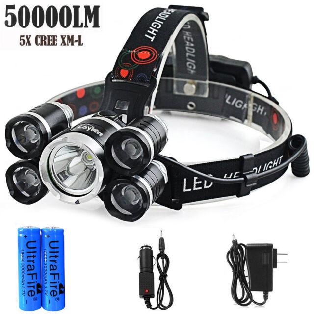 50000LM 5Head XM-L T6 LED 18650 Headlight Headlamp Flashlight Torch Lamp