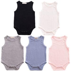 7f4e754115eb Image is loading Baby-Boys-Girls-Plain-Sleeveless-Romper-Bodysuit-Ribbed-