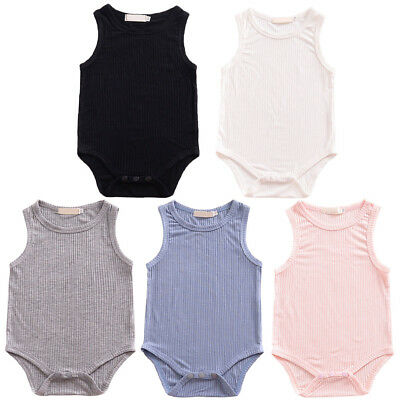 Girls Boys Baby Ribbed Buttons Romper Casual Jumpsuit Bodysuit Playsuit Clothes