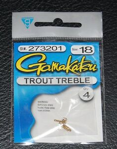 4 pack gamakatsu 273201 trout bait treble hook gold size for Fishing hook sizes for trout
