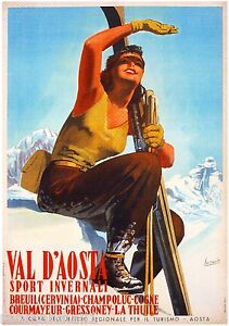 Aosta Italy Italian European Winter Ski Europe Travel Advertisement Poster II