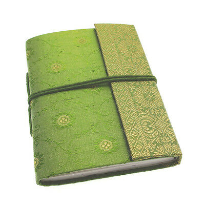 Fair Trade Handmade Medium Sari Fabric Notebook Diary Single Bound Green