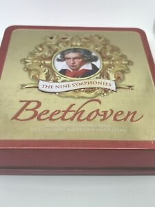 Beethoven-The-Nine-Symphonies-Empty-Tin-Box-Embossed-Hinged-Lid-5-CDs-Storage
