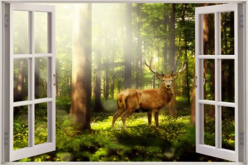 3D Effect Window View Nature Woodland Deer Forest Wall Sticker Poster M1-216