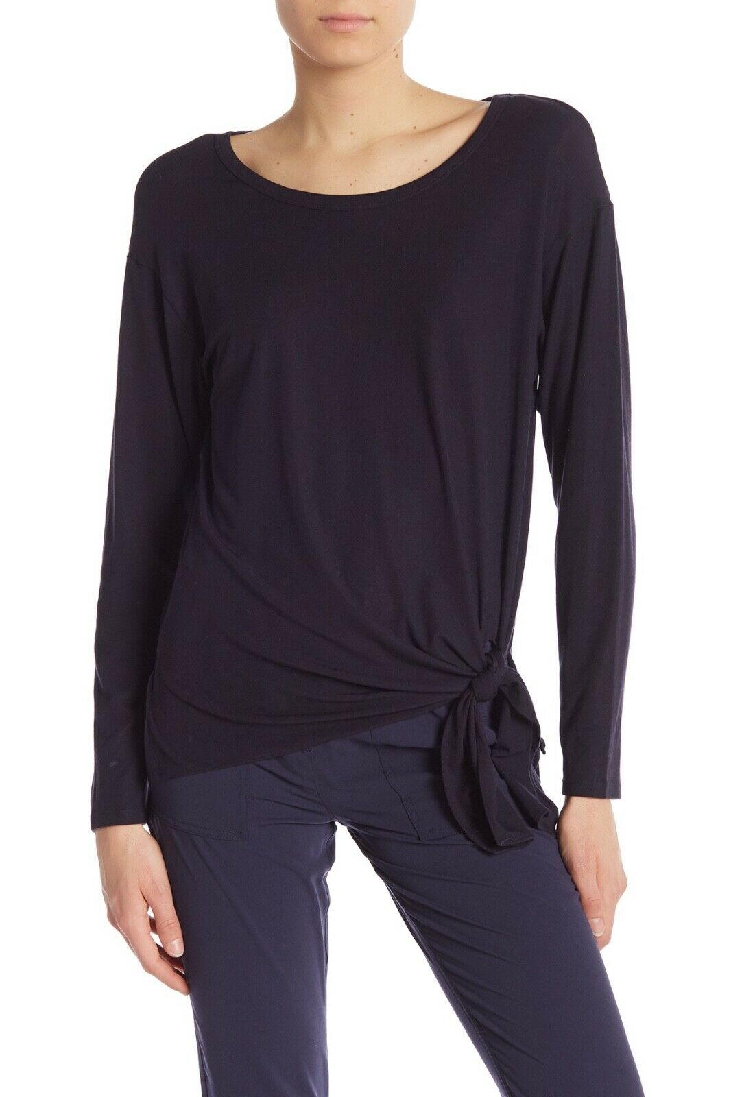 NWT  Theory Serah Long Sleeve Knotted Hem Top in Navy