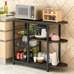 4-Tier-Microwave-Oven-Cart-Bakers-Kitchen-Rack-Storage-Shelves-Stand-Metal-USA