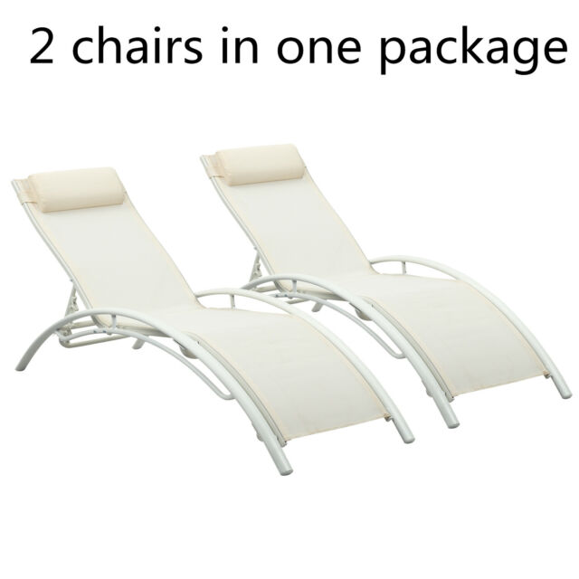 Miraculous Outdoor Adjustable Chaise Lounge Chair Set Sun Lounger Patio Furniture Recliner Bralicious Painted Fabric Chair Ideas Braliciousco