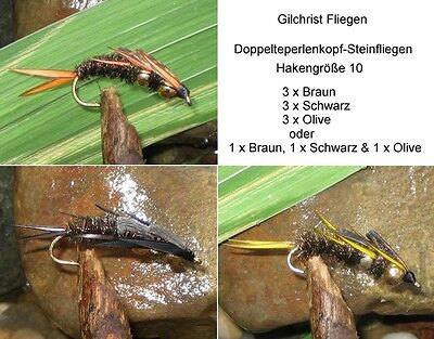 3 Stück Doppelteperlenkopf-Steinfliegen Hakengröße 10 GILCHRIST FLIEGEN