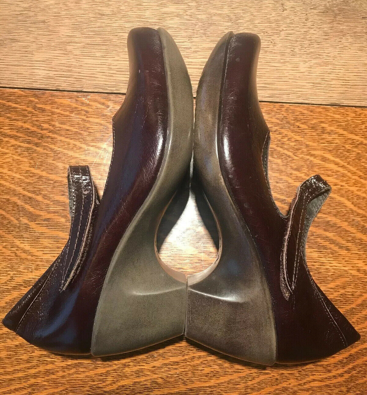 Naot Pleasure Mary Jane Wedge Heel Brown Size EU 36 L5 US 5-5.5 Bow Comfort