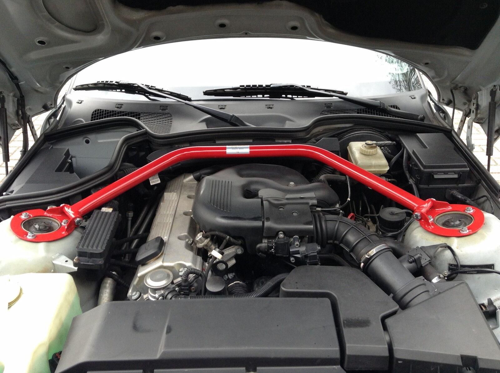 Für BMW E36 3er 4 Zylinder Aluminium Alu Domstrebe Verstellbar Poliert Vorn Oben