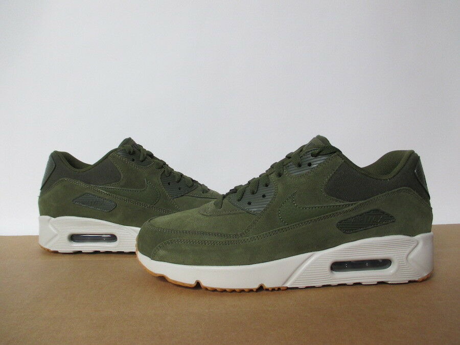NIKE AIR MAX 90 ULTRA 2.0 LEATHER OLIVE CANVAS WHITE GUM SZ 8-13