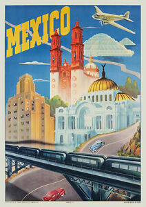 Image Is Loading Vintage 1940s Mexico City Landmarks Travel Poster Dc3