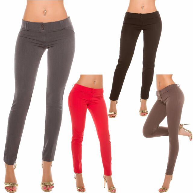 Damen Stoffhose Skinny Hose Business Büro Stretch elegant Anzugshose S 32 34 36