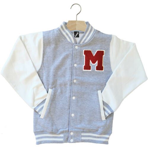 VARSITY BASEBALL JACKET UNISEX PERSONALISED WITH GENUINE US COLLEGE LETTER M