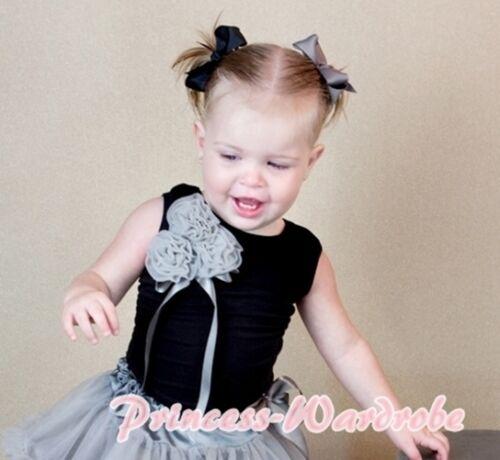 Black Tank Top Shirt /& Bunch Grey Sliver Sesame Rosettes 4 Girl Pettiskirt NB-8Y