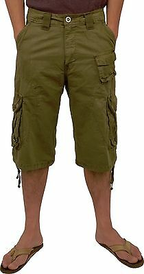 """15/""""  #91S Mens 100/% Cotton Solid Colors Cargo Shorts Sizes 30 to 54 Inseam"""