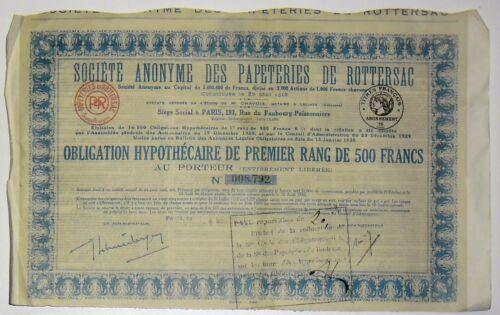Société anonyme des Papeteries de Rottersac Obligation Hypothécaire 1918 (08792)