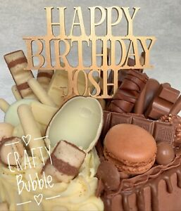 039-Happy-Birthday-NAME-039-Cake-topper-any-colour-WOODEN-HAND-MADE-PERSONALISED