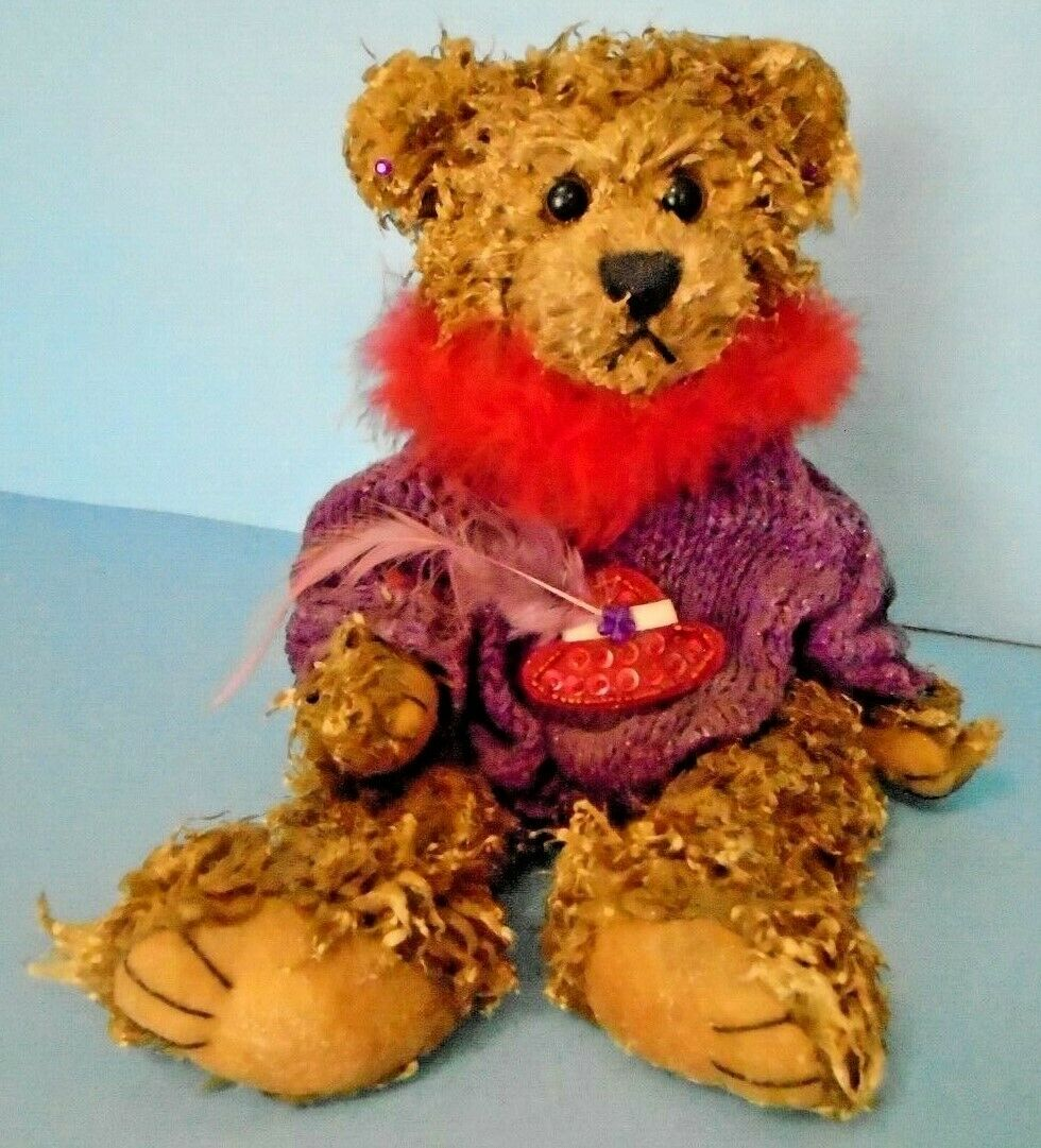 Hand Made Bear Wax Candle Figurine Features rot Hat & lila 8  Tall
