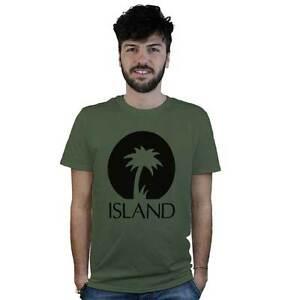 camiseta-Island-verde-militar-con-el-logotipo-negro-musica-reggae-dub-roots