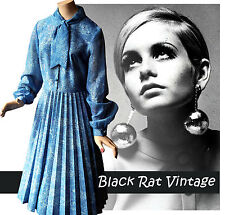 Vintage 1960s Chiffon Blue Printed Pleated Bohemian Pussy Bow Secretary Dress 12