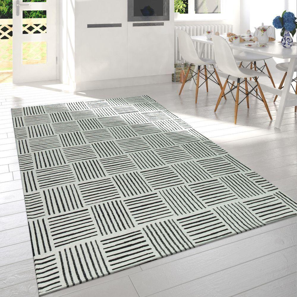 Moderner Wohnzimmer Kurzflor Wohnzimmer Moderner Teppich Karo Design