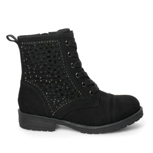 Black Ankle Tie BOOTS With Side ZIPPER