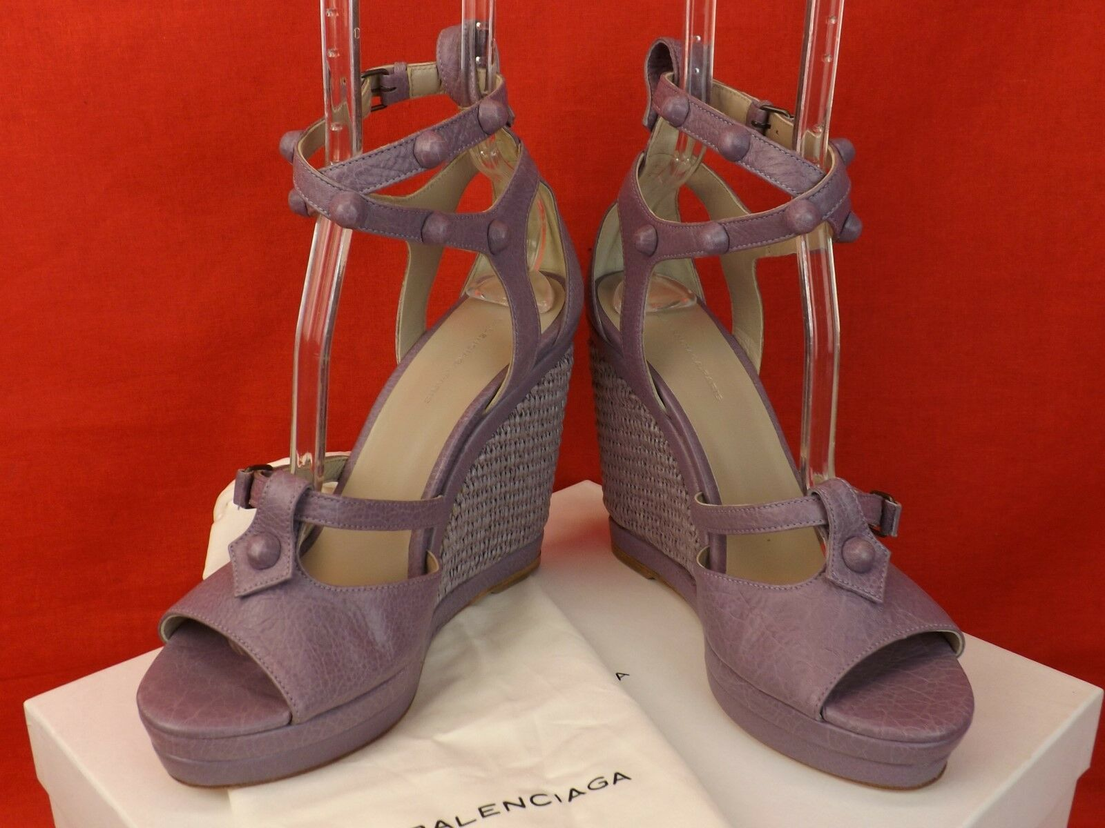 NIB BALENCIAGA ARENA GLYCINE LAVENDER LEATHER LEATHER LEATHER WEDGE STUDDED SANDALS 40 286068 5219f9
