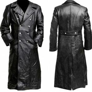Men-Full-Length-Leather-Gothic-Steampunk-Long-Maxi-Jacket-Trench-Coat-Black