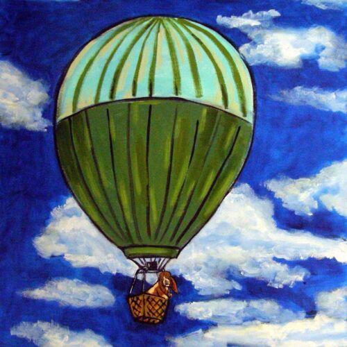 basset hound dog art tile coaster gift hot air balloon JSCHMETZ