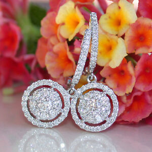Real-10k-White-Gold-1-05-ct-Round-Cut-Diamond-Cluster-Dangle-Earrings