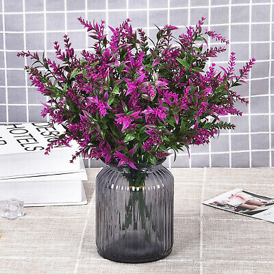 6pcs Artificial Plants Lavender Simulation Greenery Bushes Wedding Outdoor Decor Ebay