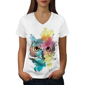 Wellcoda-Elegante-Owl-Bird-da-donna-V-Neck-T-shirt-bellissimo-design-Grafico-Tee