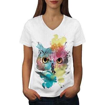 Wellcoda Elegante Owl Bird Da Donna V-neck T-shirt, Bellissimo Design Grafico Tee-mostra Il Titolo Originale Elegante Nell'Odore