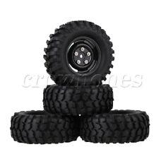 4pcs Rc1 10 Rock Crawler Car Black Plastic Wheel Rims With Screws&rubber Tyres