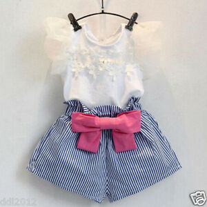Toddler-Kids-Baby-Girls-Summer-Clothes-T-shirt-Tops-Stripe-Shorts-Bow-Hot-Pants
