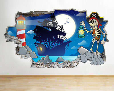 Wall Stickers Pirate Ship Kids Cool Bedroom Canvas Picture Poster Art Room G834