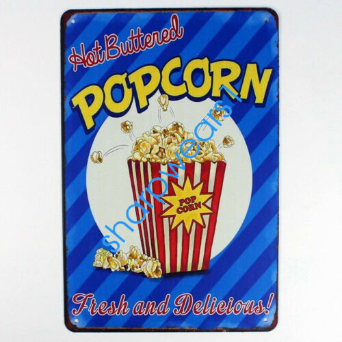 Metal Tin Sign popcorn fresh delicious  Decor Pub Bar Home Vintage Retro Poster