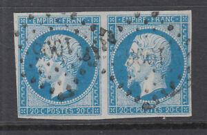 France-Sc-16a-used-1853-60-20c-blue-on-greenish-pair-light-blue-shade-sound