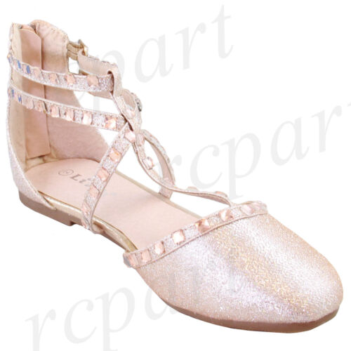 New girl/'s kids back zipper gladiator shoes champagne formal holiday