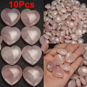 10Pcs-Natural-Pink-Healing-Gemstone-Love-Heart-Shaped-Palm-Rose-Quartz-Crystal