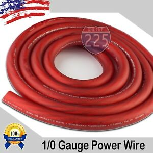 25-Ft-True-1-0-0-AWG-Gauge-Power-Positive-Wire-Strand-Cable-25-039-Red-High-Quality