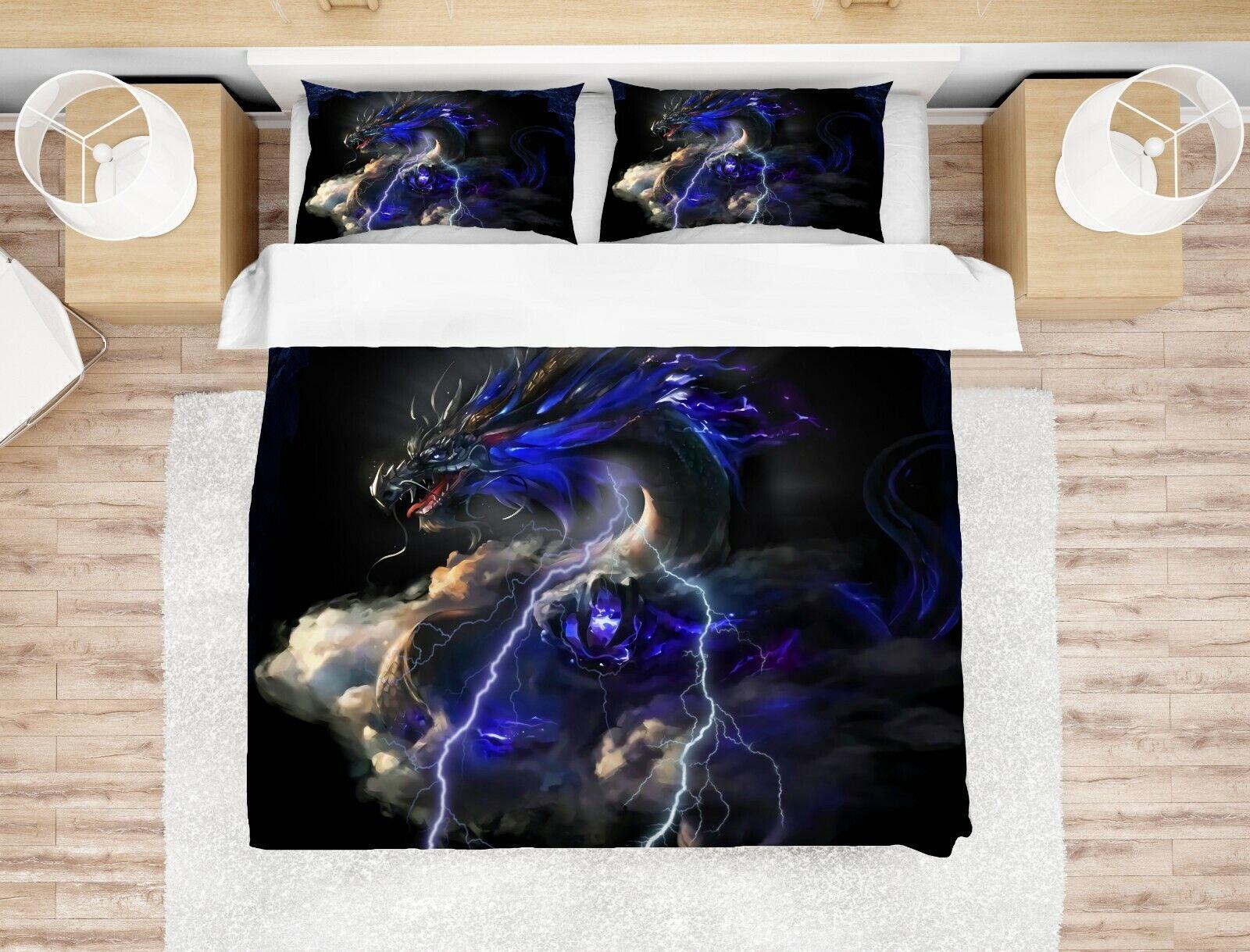 3D Dark Sky Dragon Quilt Cover Set Bedding Duvet Cover Single Queen King 18