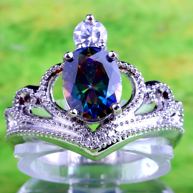 Beauty Oval Cut Crown Rainbow White Topaz Gemstones Silver Ring Size 6 7 8 9 10