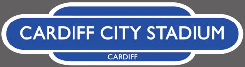 CARDIFF RAILWAY TOTEM FOOTBALL SIGN INSIDE OR OUTSIDE USE.OLD