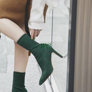 finta punta a tacchi pelle scarpe retro stivaletti a punta tacco spillo tirare taglia in Womens su scamosciata w4Zpx