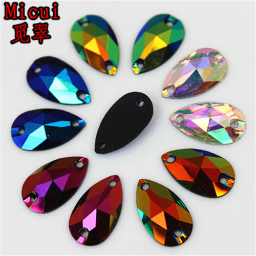 100pcs 10*18mm AB Drop Sew on Resin Rhinestones crystal Flatback Sewing ZZ765