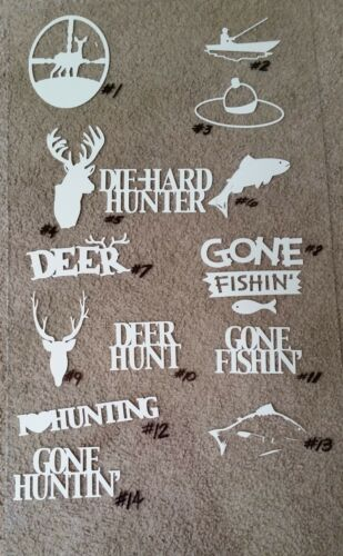 Hunting and fishing themed Vinyl Decal Sticker choose from 14 designs