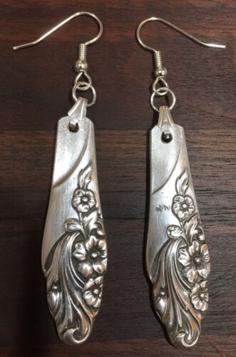 Antique Vintage Spoon// Fork Community Evening Star Earrings Silverware Jewelry